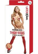 Premium Latex Thigh-highs W/x Pasties-rd
